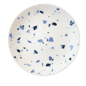 Terrazzo Style Blue & White Plates, Set of Eight