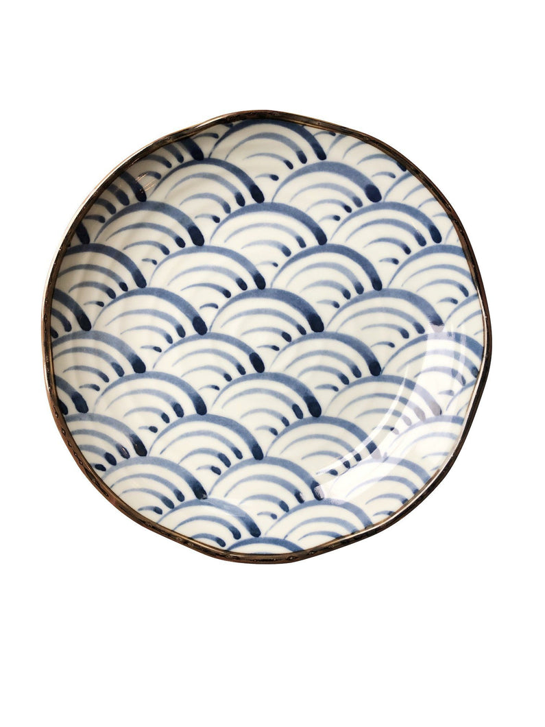 A Set of EIGHT Hand-Painted Blue & White Wave Plates
