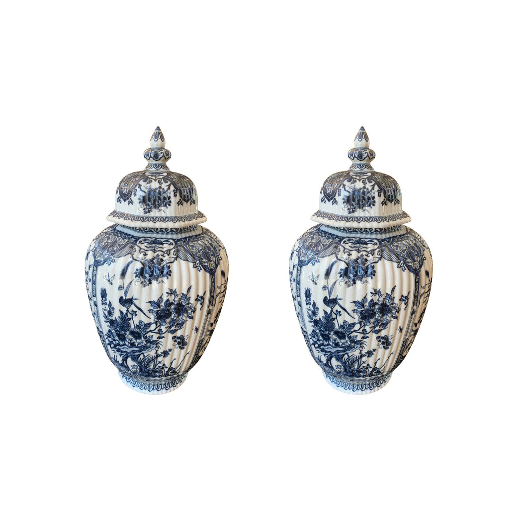 A Pair of Blue & White Chinese Export Jars & Covers for the Dutch Market