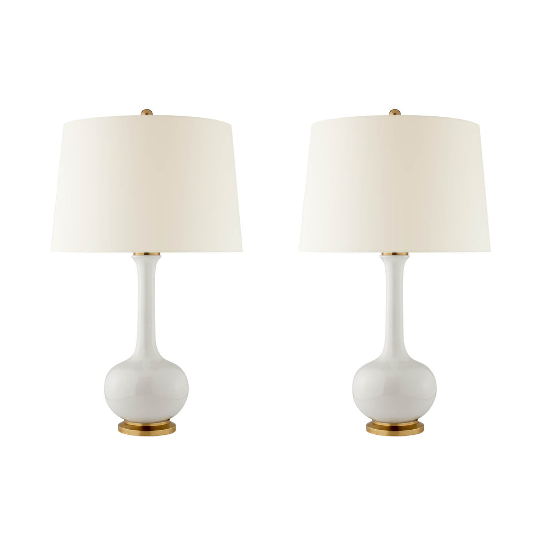 Classic Single Gourd Table Lamp in Ivory Glaze