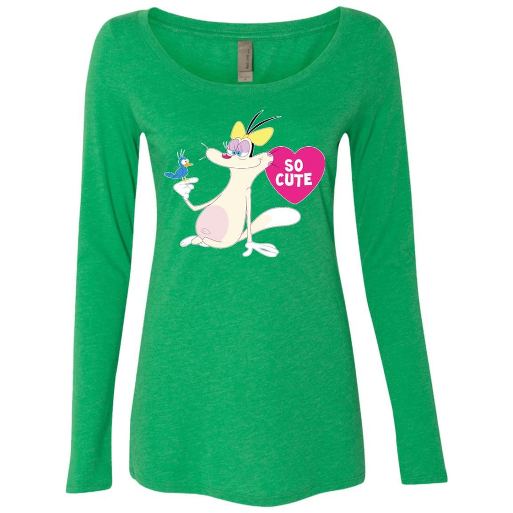So Cute - Ladies' Triblend LS Scoop