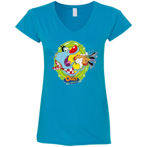 Oggy Sandwich - Ladies' Fitted Softstyle V-Neck T-Shirt