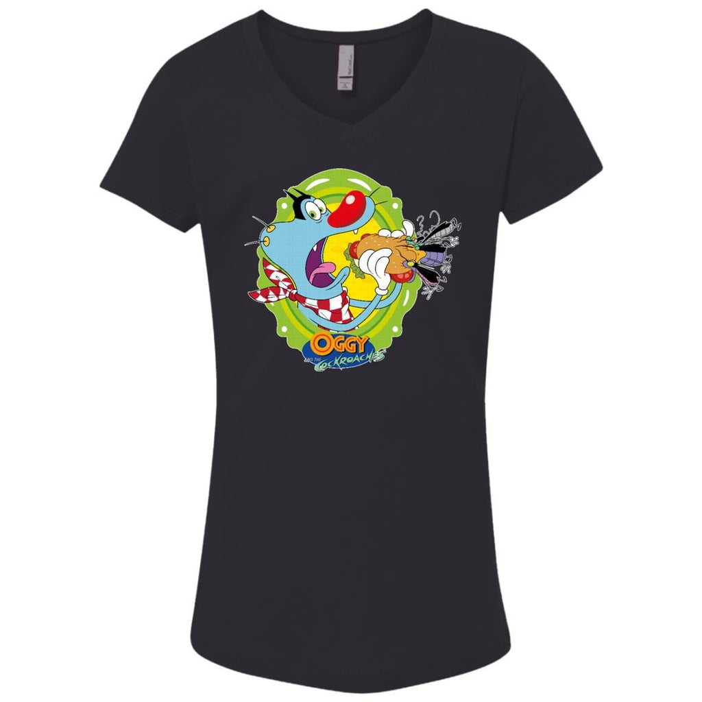 Oggy Sandwich - Girls' Princess V-Neck T-Shirt