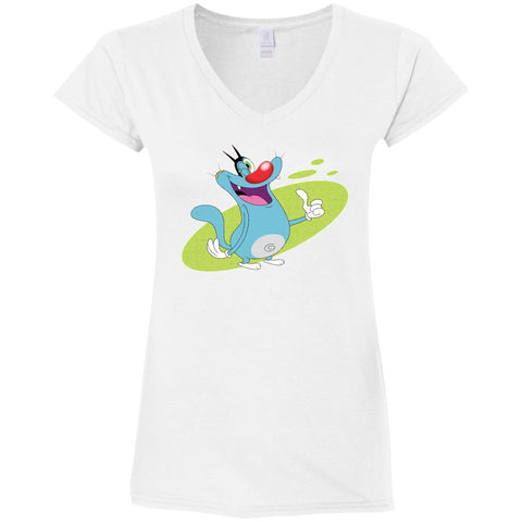 Oggy Wink - Ladies' Fitted Softstyle V-Neck T-Shirt