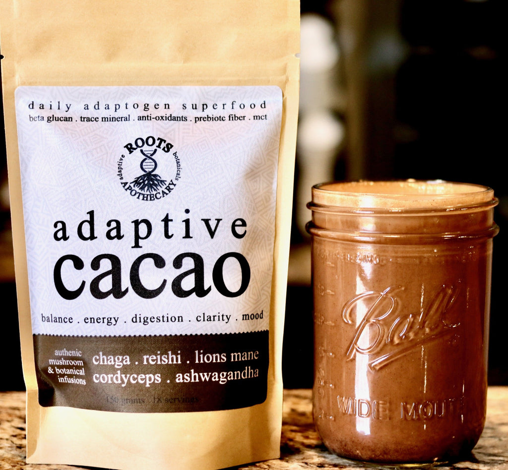 adaptive cacao performance mushroom and adaptogen superfood product. handcrafted organic.