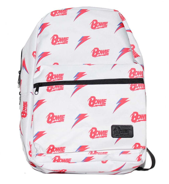 David Bowie All Over Print White Backpack - Riles Belles