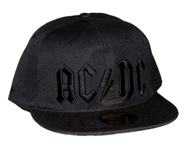 AC/DC Black on Black Logo Flat Bill Snapback Hat - Riles Belles