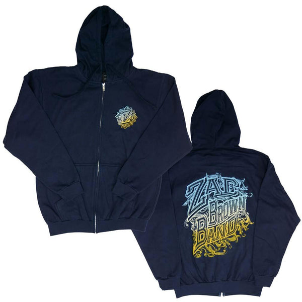 Zac Brown Band Logo Zip Hoodie Sweatshirt Mens Sweatshirts