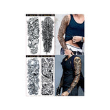 4 Sheets Extra Large Flower Temporary Tattoo Sticker Full Arm - Riles Belles