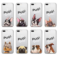 French Bulldog Puppy Pug Soft Clear iPhone 5 5S SE 6 6S 6Plus 7 7Plus 8 8Plus X Phone Cover Case - Riles Belles