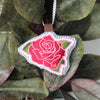 Customizable Embroidered Rose Ornament on Seersucker in Dark Pink