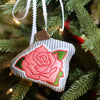 Embroidered Rose Ornament on Seersucker in Medium Pink