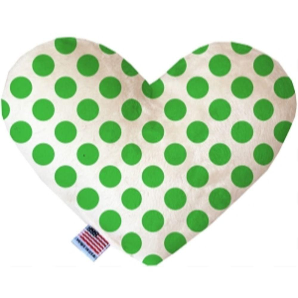 White and Green Dotted Heart Dog Toy 6 Inch