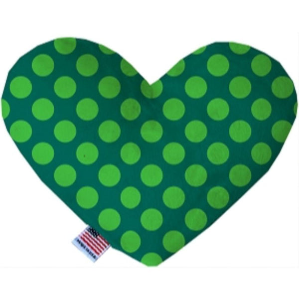 Green on Green Dots Heart Dog Toy 6 Inch