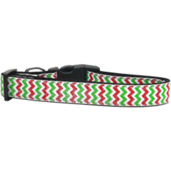 Christmas Sparkle Chevron Nylon Dog Collars Large