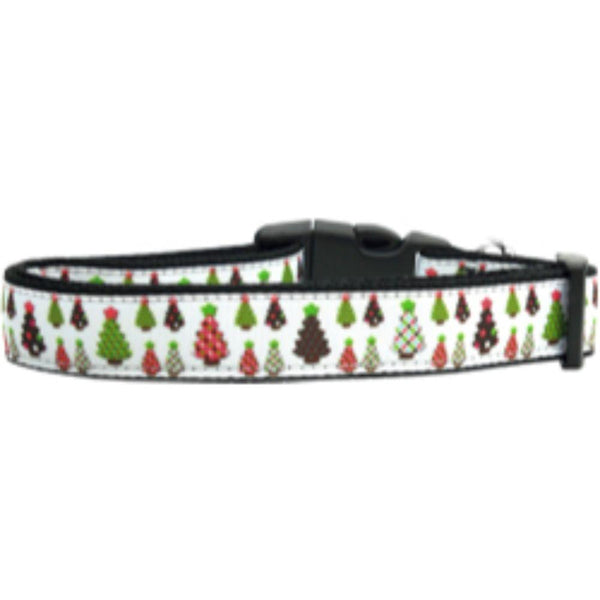 Designer Christmas Trees Nylon Dog Collars Large