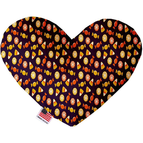 Halloween Candy Confetti Canvas Heart Dog Toy 6 Inch
