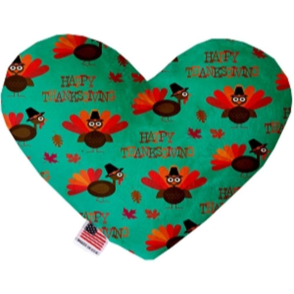 Happy Thanksgiving Canvas Heart Dog Toy 6 Inch
