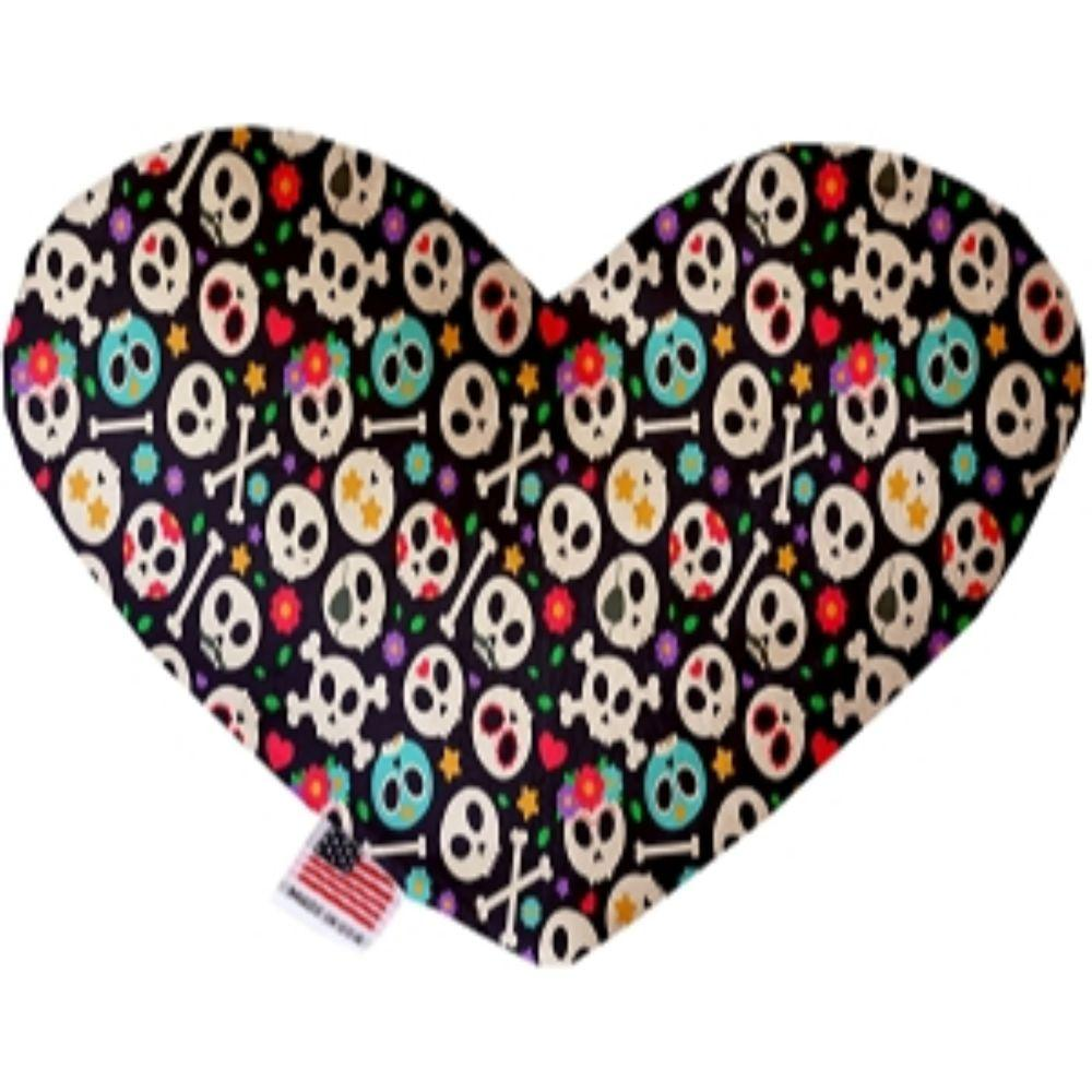 Dia de Los Muertos Skulls Canvas Heart Dog Toy 6 Inch