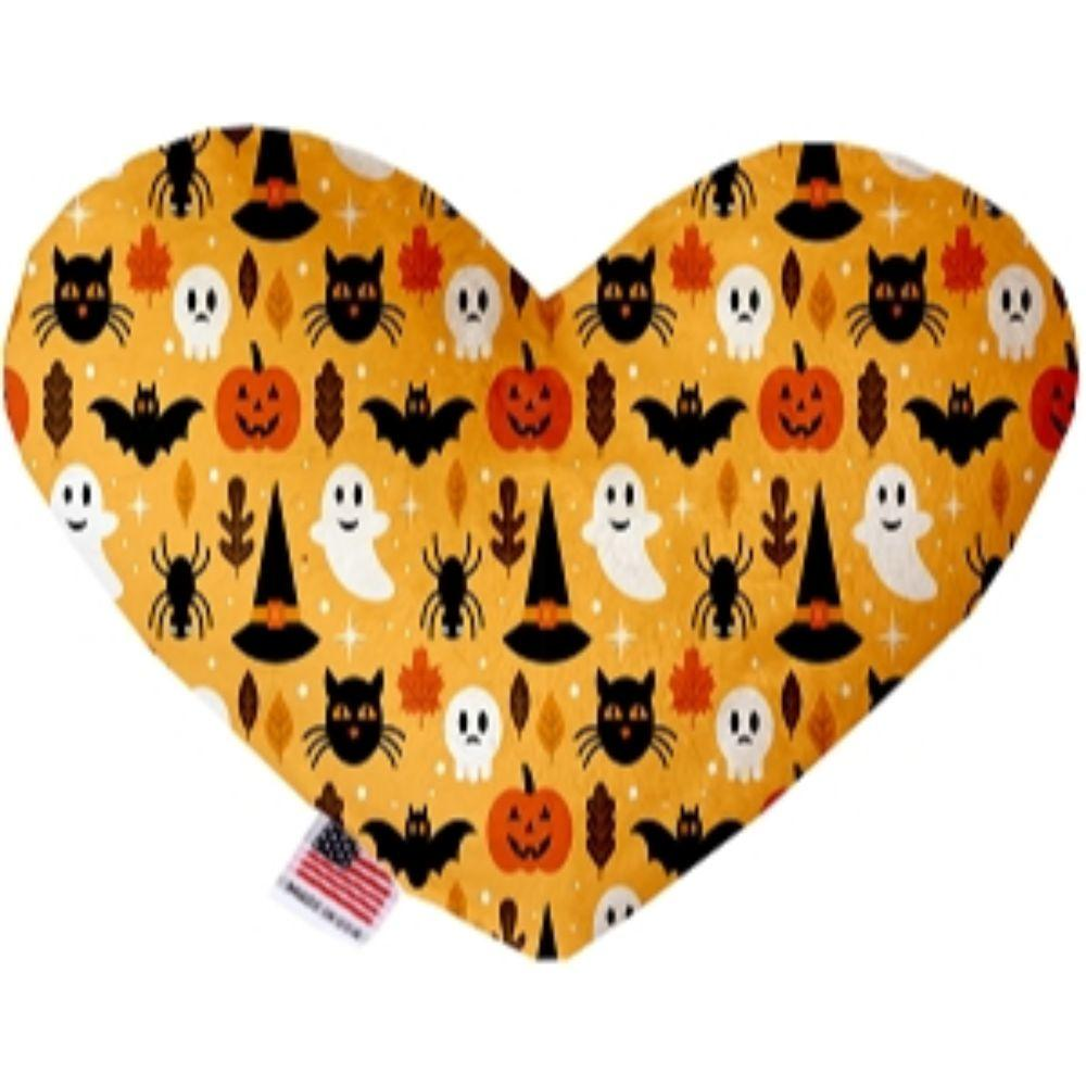 Happy Halloween Canvas Heart Dog Toy 6 Inch
