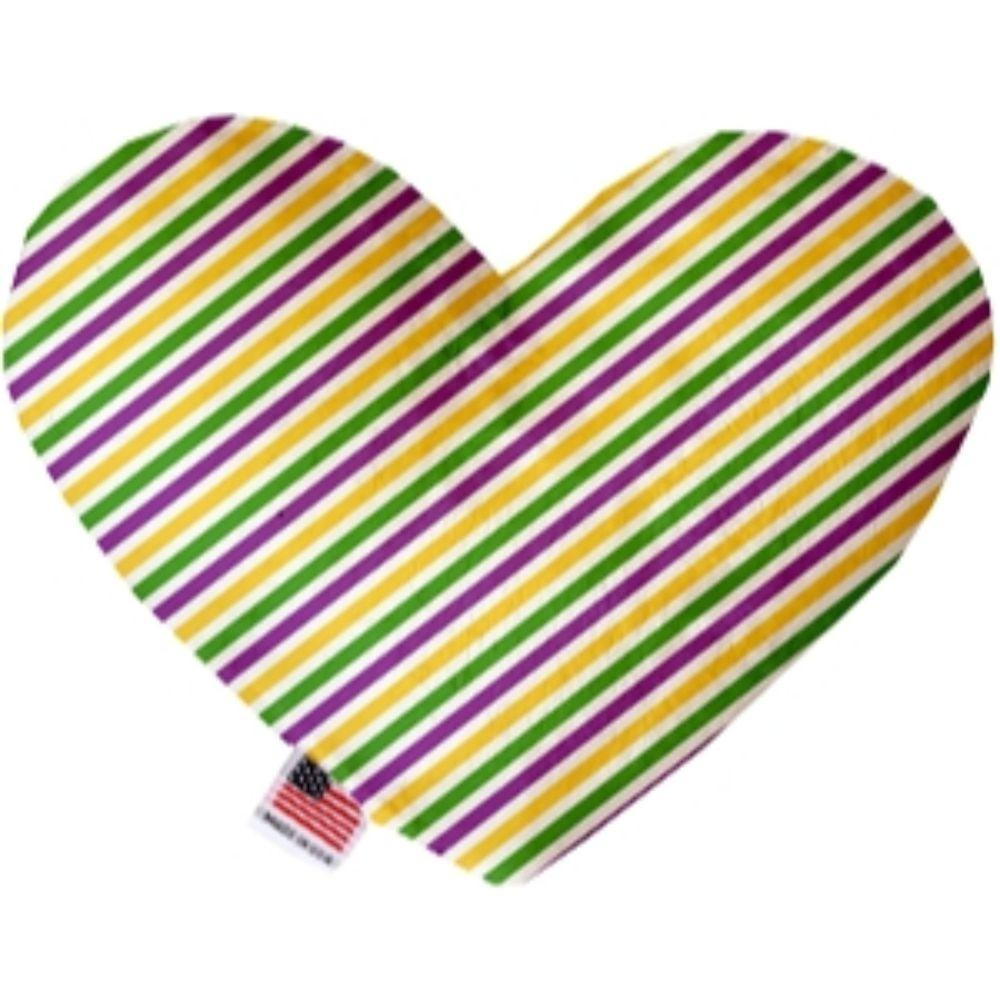 Mardi Gras Stripes Heart Dog Toy 6 Inch