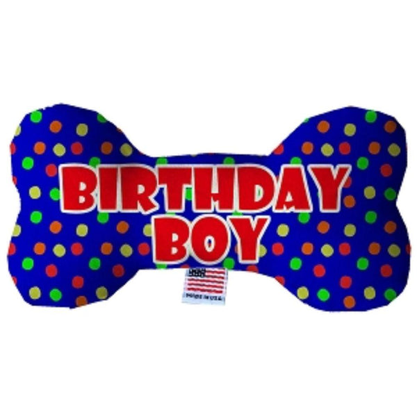 Birthday Boy Fluffy Bone Dog Toy 10 Inch