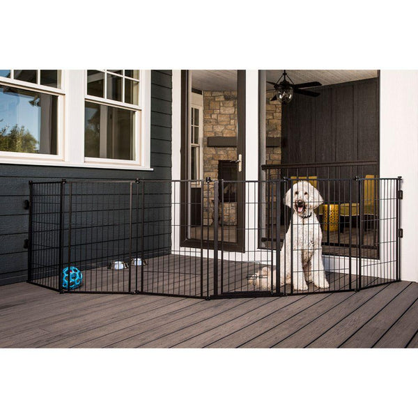 Supergate Extra Tall With Small Pet Door 36x144 In Black