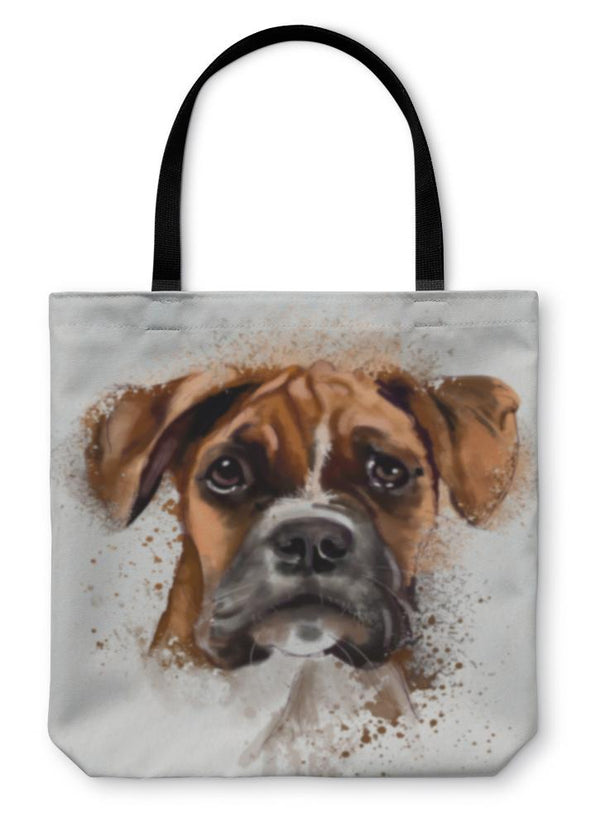 "Painted Boxer Tote Bag 13"" inches wide"