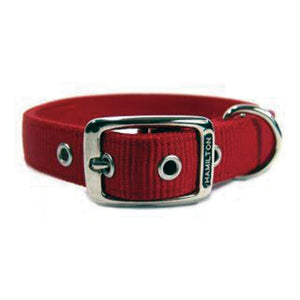 Double Thick Nylon Dog Collar (Size 1x22 In. Red.)