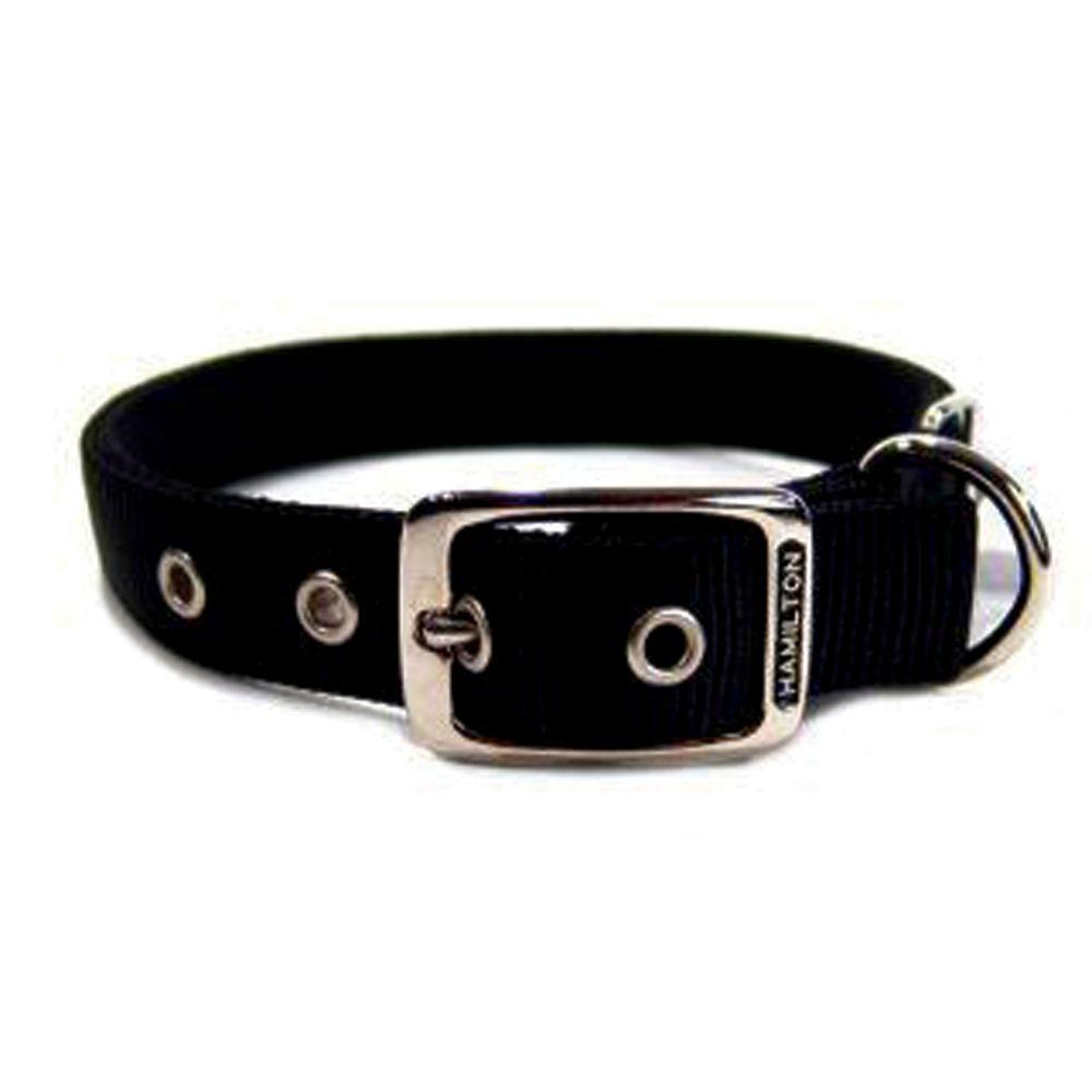 Double Thick Nylon Dog Collar (Size 1x22 In. Black.)