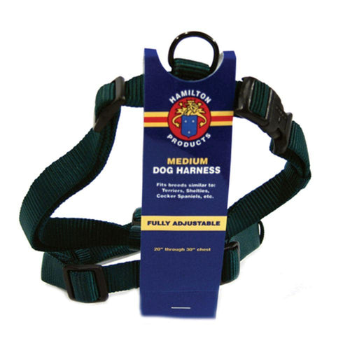 Adjustable Dog Harness (Size 3/4 X 20-30 In. Color Hunter Green.)