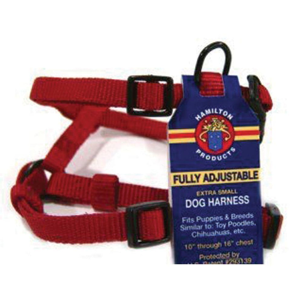 Adjustable Dog Harness (Size 3/8 X 10-16 In. Red)