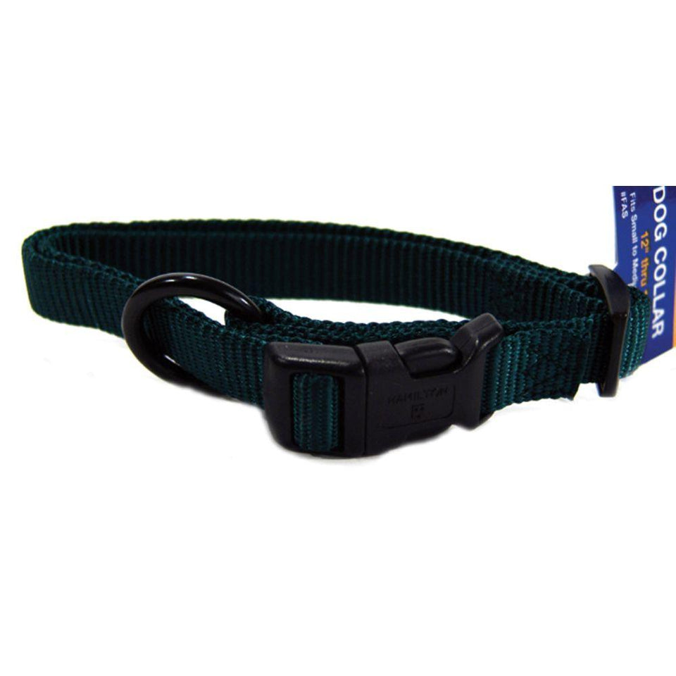 Adjustable Dog Collar (Size 5/8 X 12-18 In. Color Hunter Green)