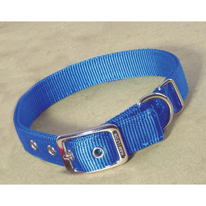 Double Thick Nylon Dog Collar (Size 1x32 In. Blue)
