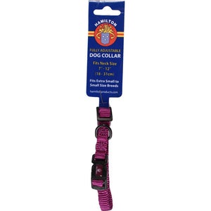 Adjustable Dog Collar (Size 3/8 X 7-12 In. Color Hot Purple)