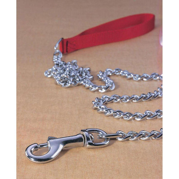 Steel Chain Lead With Nylon Handle Medium 4ft Silver/red Medium 4ft