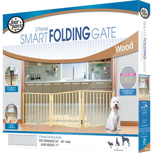 Free Standing Folding 3 Panle Gate 30-64 In Wood