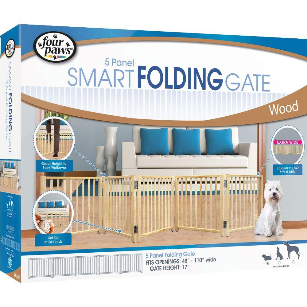 Free Standing Folding 5 Panel Gate 48-110 In Wood