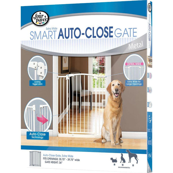 Auto Closing Metal Gate Extra Wide 35.75-39.75x36 White