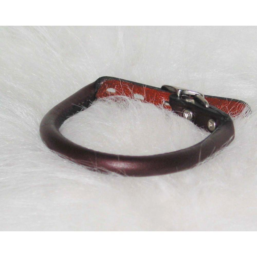 Rolled Leather Collar (Size 1/2 X 16 In. Burgundy.)