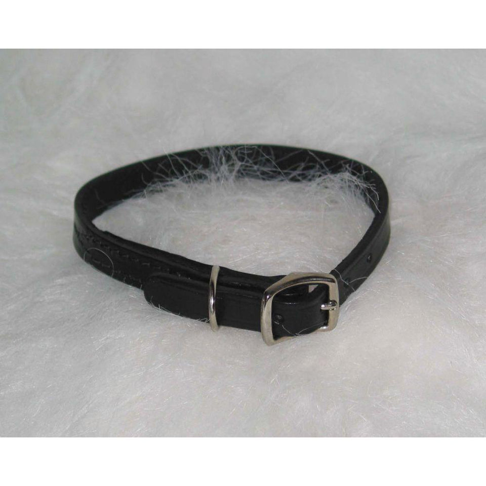 Creased Leather Collar (Size 1/2 X 16 In. Black.)
