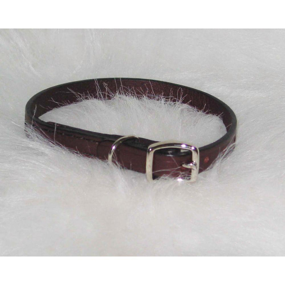 Creased Leather Collar (Size 1/2 X 14 In. Burgundy)