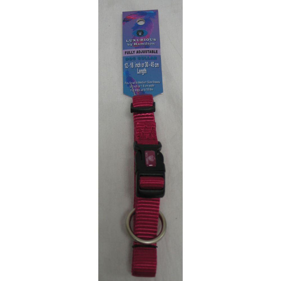 Adjustable Dog Collar (Size 5/8 X 12-18 In. Color Raspberry.)
