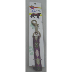 Nylon Lead With Snap Carded (Size 5/8inchx6foot. Color Argyle/plum)