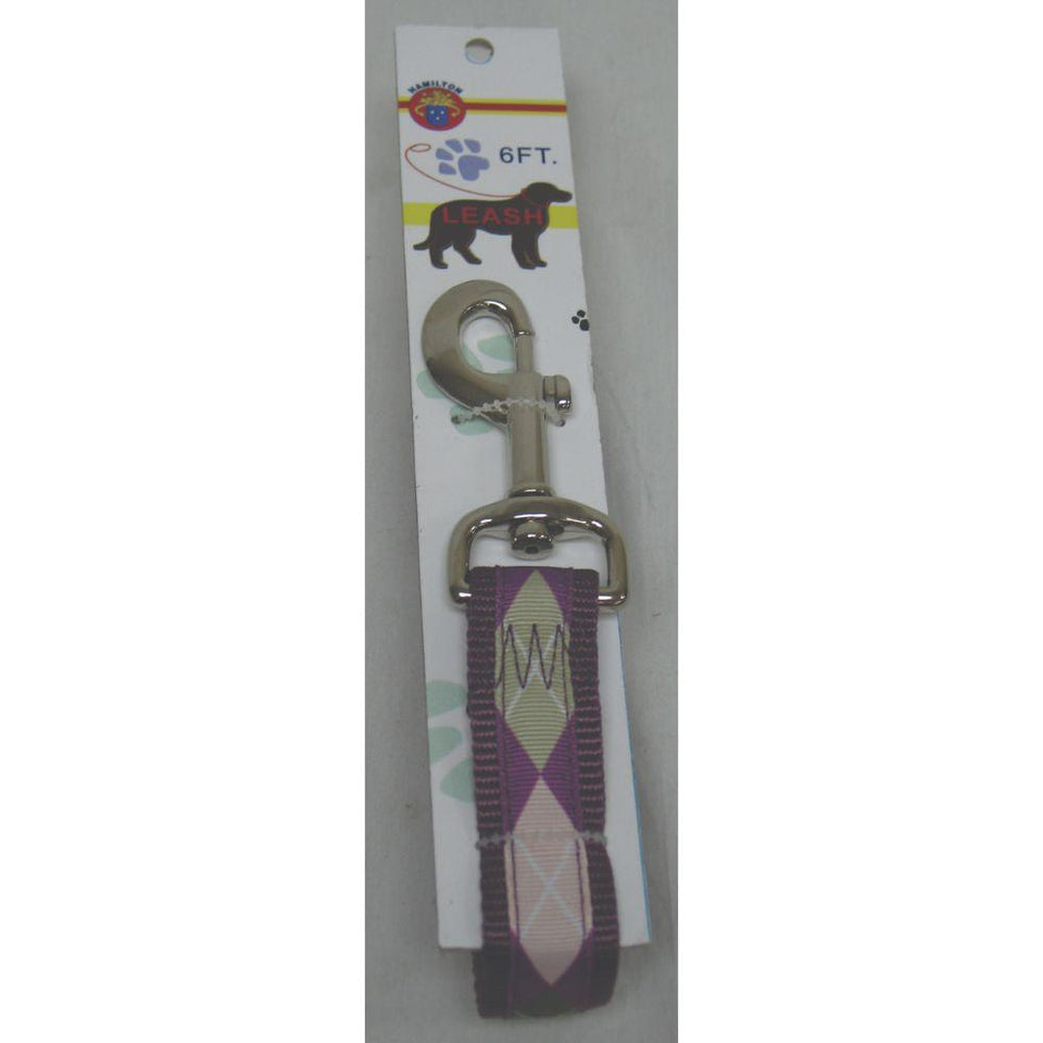 Nylon Lead With Snap Carded (Size 1 Inch X 6 Foot. Color Argyle/plum)