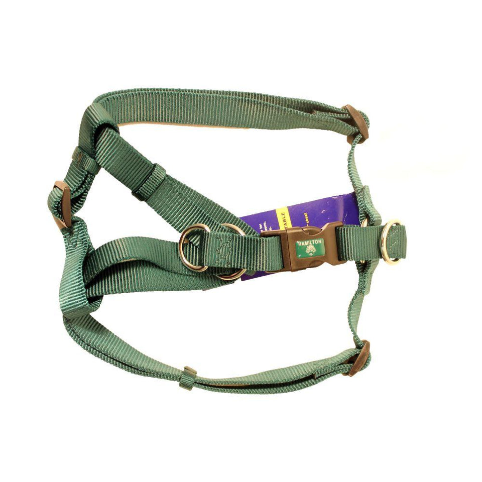 Adjustable Easy On Dog Harness (Large. Dark Green)