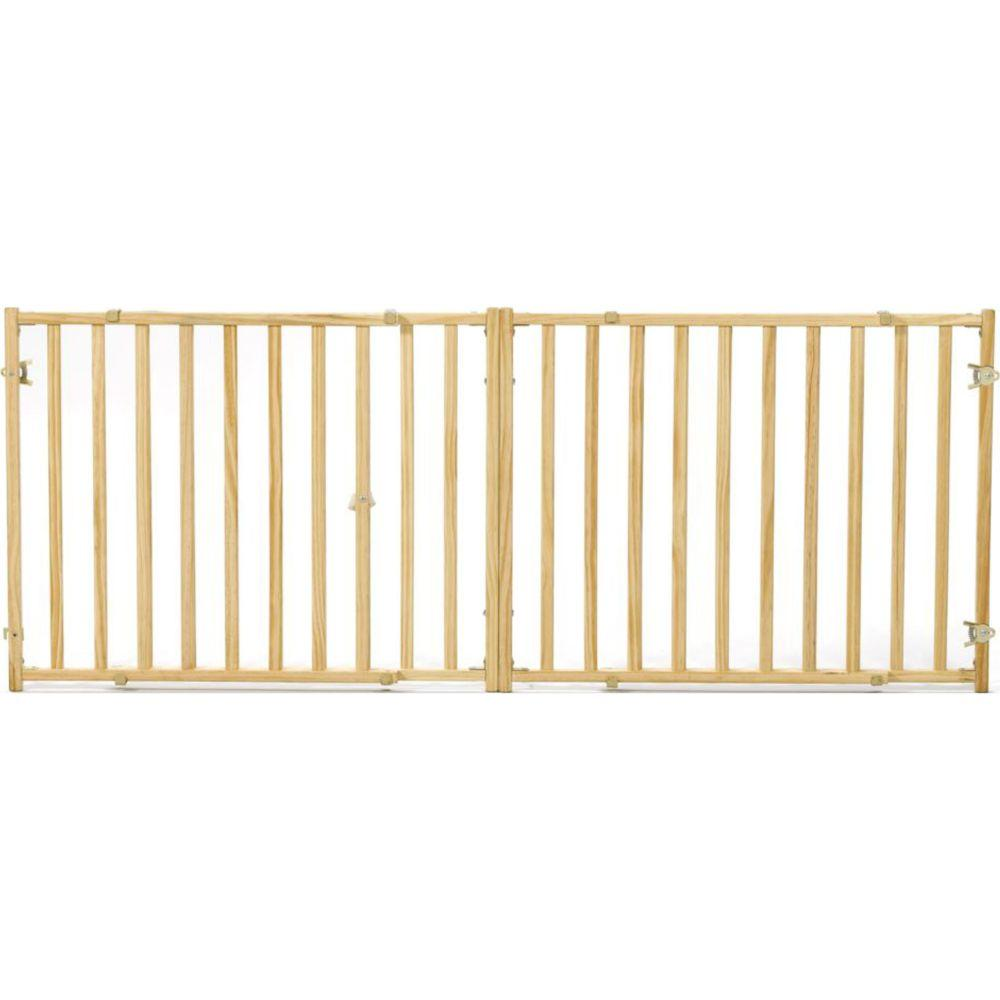 Extra-wide Wood Pet Gate 24 Natural