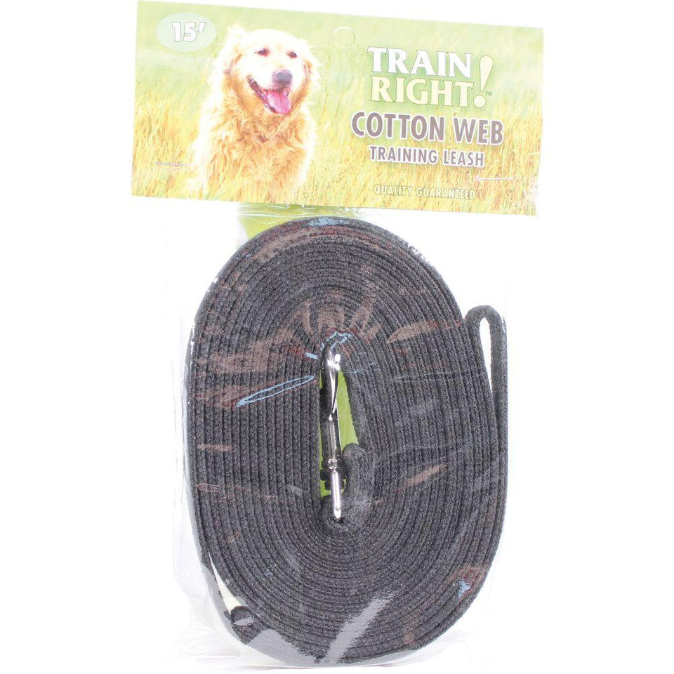 Train Right! Cotton Web Dog Training Leash 15'