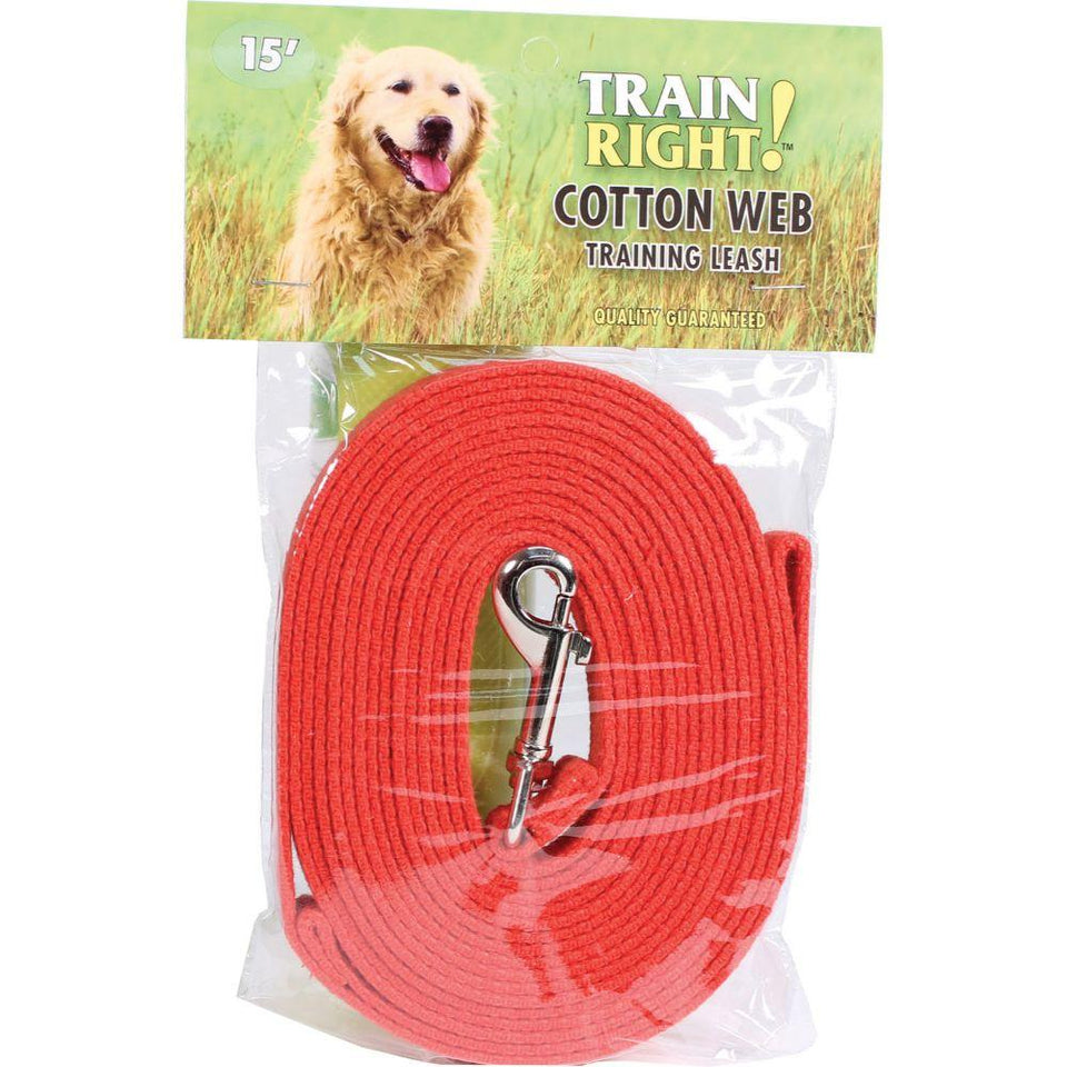 Train Right! Cotton Web Dog Training Leash 15' red