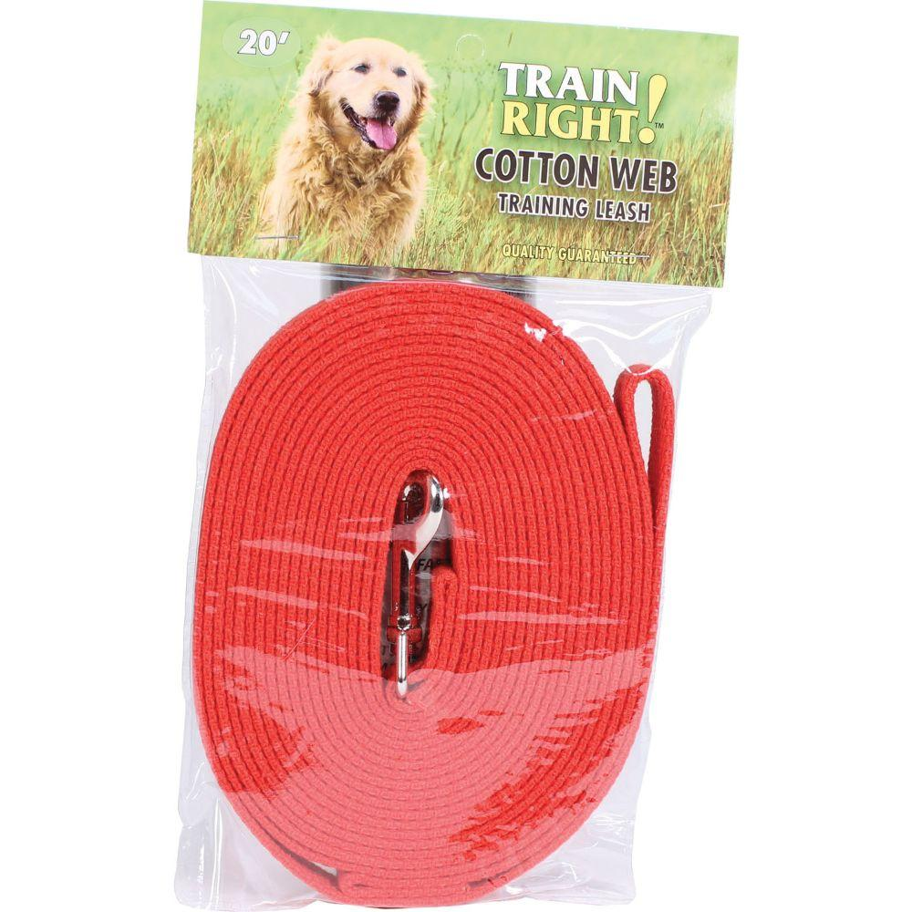 Train Right! Cotton Web Dog Training Leash 20' Red